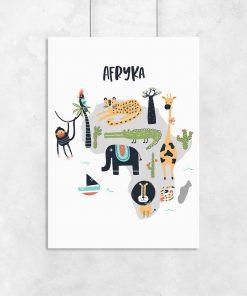 plakat mapa i zwierzęta
