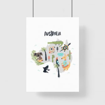plakat kontynent australii i zwierzęta
