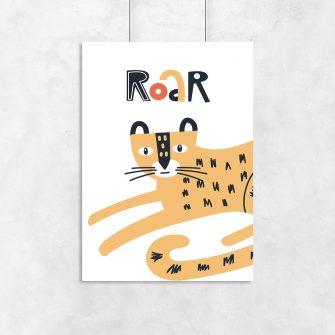 plakat gepard i napis roar