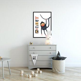 plakat z ilustracją małpki