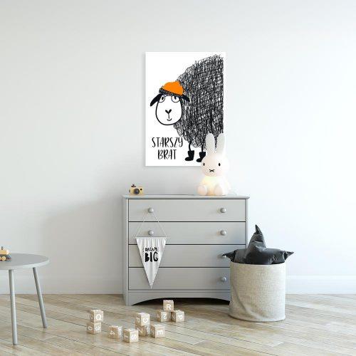 plakat czarno-biały z owcą