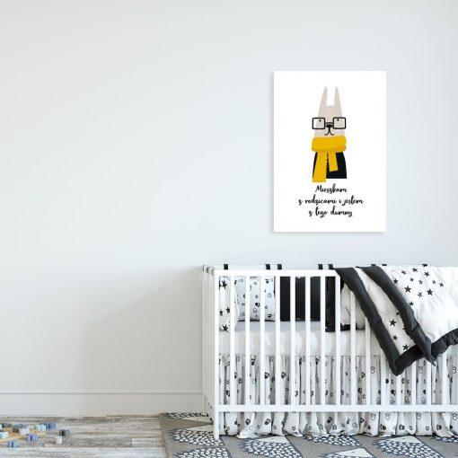 plakat królik i napis o mieszkaniu