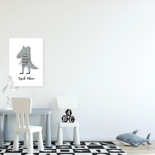 plakat krokodyl i napis