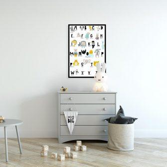 plakat ze zwierzętami i alfabetem
