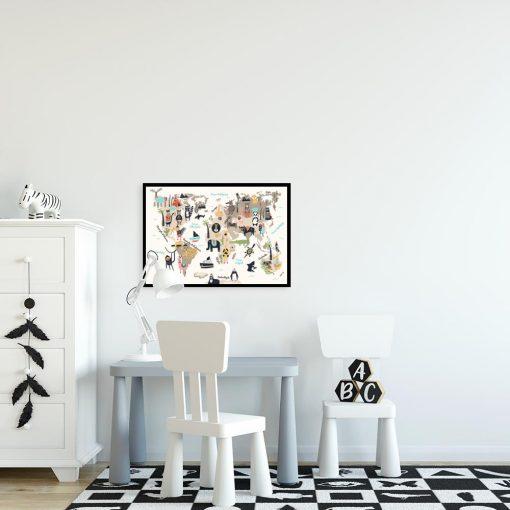plakat mapa świata beżowa