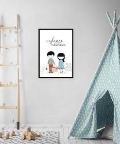 plakat z motywem rodzeństwa