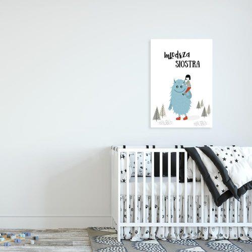 plakat niebieski stworek i dziewczynka