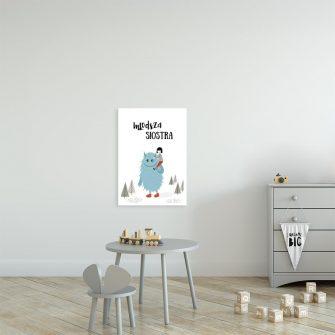plakat z niebieskim stworkiem