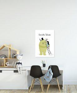 plakat zielony stworek i dziewczynka