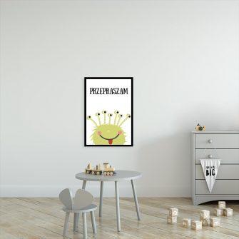 plakat z motywem zielonego stworka