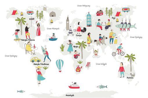 tapeta z mapą świata i ludźmi