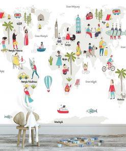tapeta dziecięca mapa świata i kultura