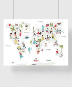 plakat z mapą świata i ludźmi