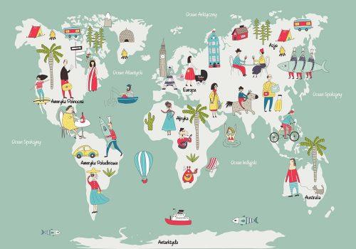 fototapeta mapa świata i ludzie