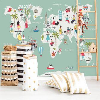 fototapeta miętowa mapa świata