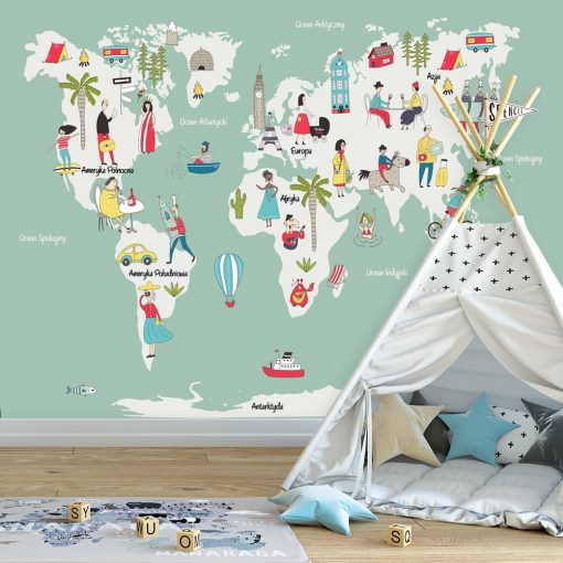 fototapeta mapa świata i kultura