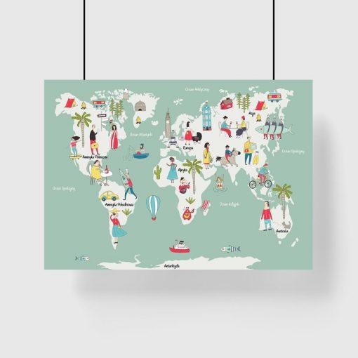 miętowy plakat z mapą świata