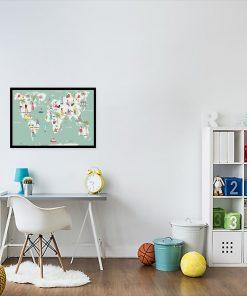 plakat dziecięcy z mapą