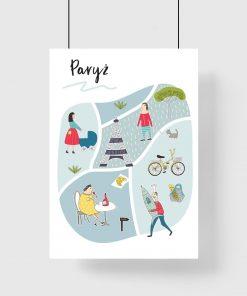 dziecięcy plakat z elementami francuskiej kultury