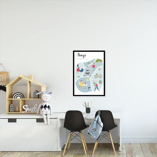 plakat z mapą paryża