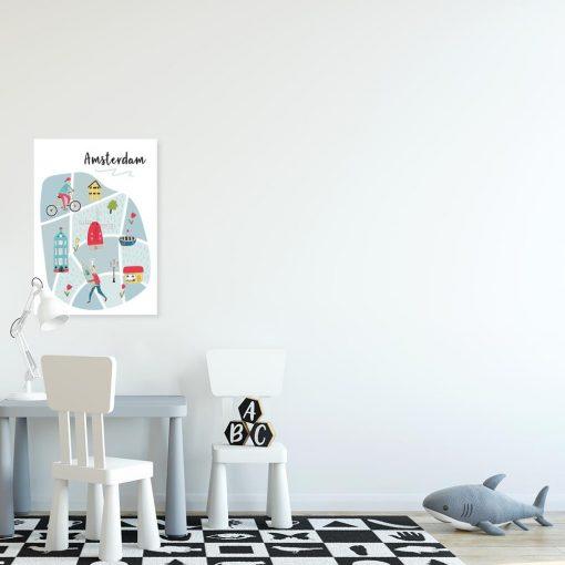 plakat edukacyjny mapa amsterdamu