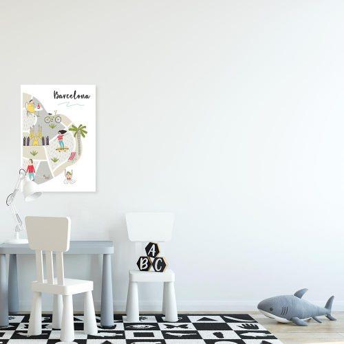 plakat z mapą barcelony