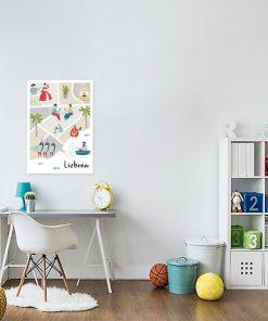 beżowy plakat z mapą lizbony
