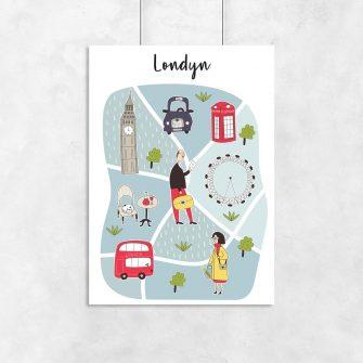 plakat dziecięcy z mapą londynu