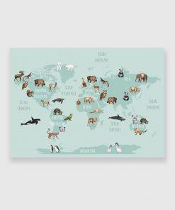 Obraz z mapą i zwierzętami
