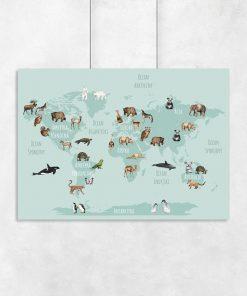 mapa świata na plakacie