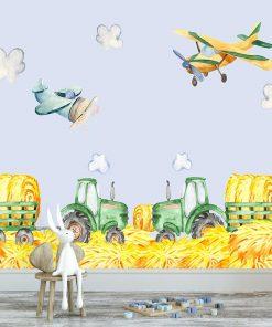 fototapeta z widokiem na traktory