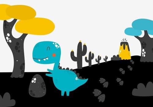 tapeta z niebieskim dinozaurem