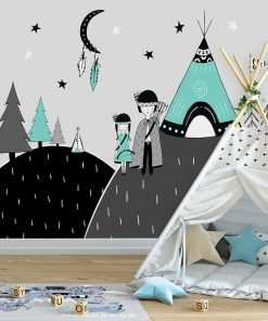 tapeta z indiańską parą i namiotem