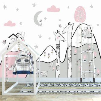 tapeta dla dziewczynki ze zwierzątkami