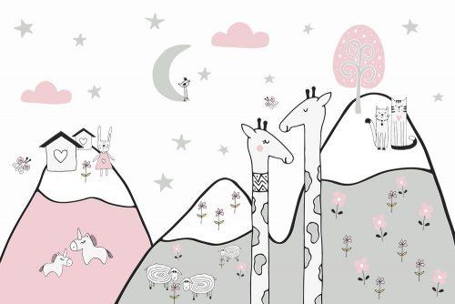 tapeta różowo-szara ze zwierzętami