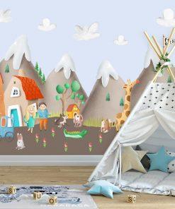 góry i domki jako dekoracja