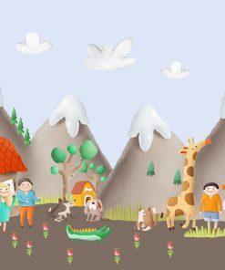 góry na kolorowej tapecie