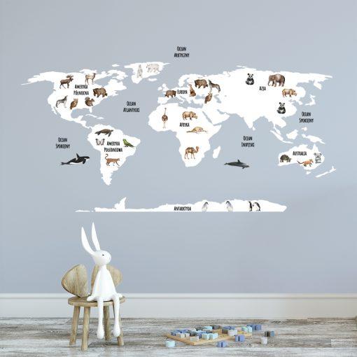 naklejka mapa świata i zwierzątka