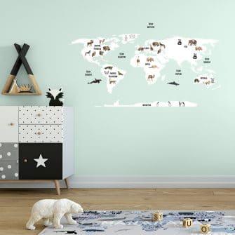 skandynawska naklejka z mapą i zwierzętkami