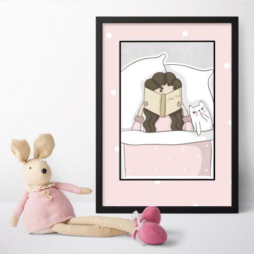 Plakat dla dziecka z czytającą dziewczynką