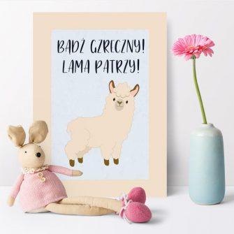 Plakat polecany do pokoju dziecka z motywem lamy
