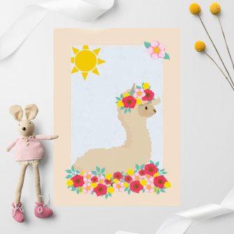 Plakat do pokoju dziecka z uśmiechniętą lamą