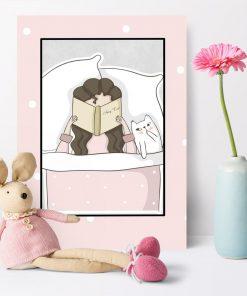 Plakat do pokoju dziecka - Czytająca dziewczynka