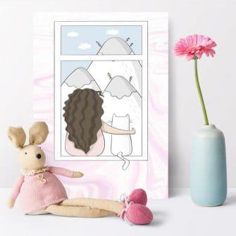 Plakat dla dzieci z kotem