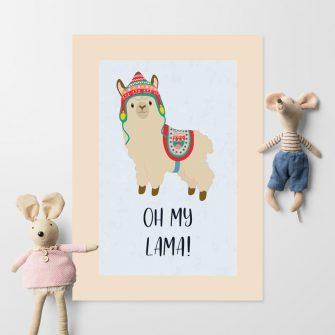 Plakat polecany do pokoju dziecięcego - Oh my lama!