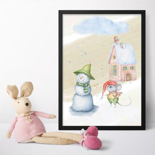 Plakat dziecięcy z myszką na śniegu