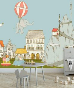Fototapeta polecana do pokoju dziecka - Słonik lecący balonem