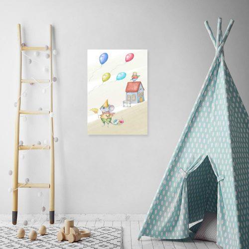 Obraz dla dzieci - Kurczaczek na dachu