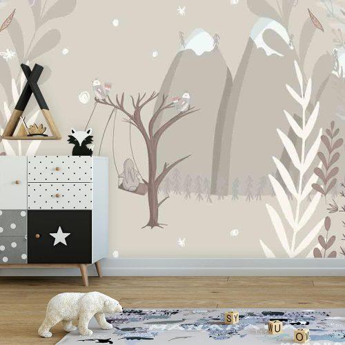 Fototapeta do pokoju dziecka - Zajączki na huśtawce