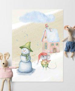 Plakat dziecięcy z myszką w czapce